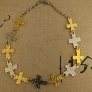 Mixed Hammered Metal Cross Necklace